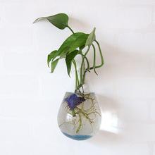 水滴形玻璃花瓶 壁掛水培水養植物器皿 透明玻璃懸掛式墻壁花盆