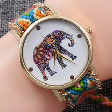 外贸爆款女士手工编织手链表 大象动物系列复古缠绕拉绳手表批发