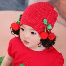 韩版新款儿童假发帽 女宝套头帽 现货新生儿棉布公主帽 套头帽