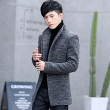 冬装毛呢风衣男士外套秋冬季妮子加绒加厚款毛呢西服呢子英伦大衣