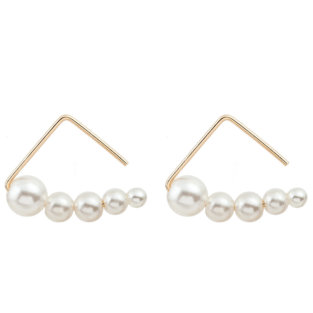 New Minimalist Geometric Open Triangle Earrings Copper Gold Plated Silver String Pearl Earrings Wholesale NHCU197231