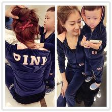 韩版亲子装春秋装新款母女母子天鹅绒休?#24615;?#21160;套装一件代发MW81
