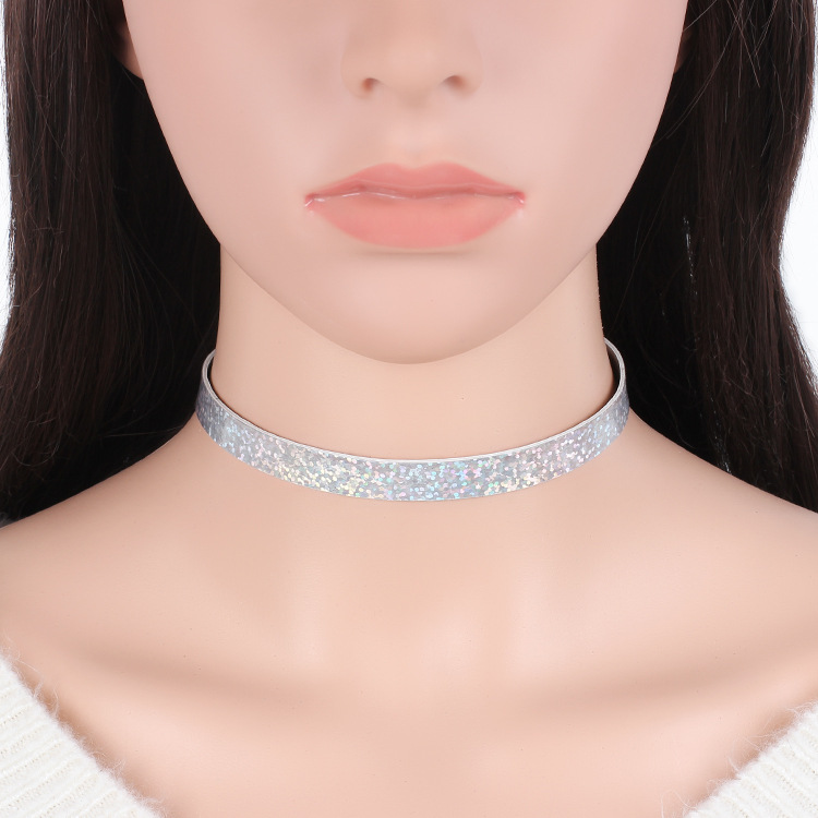 fashion new choker double-sided laser light necklace neck chain jewelry NHRN259962