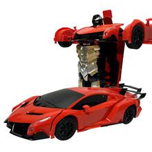 1:12感應蘭博基尼變形車遙控車一鍵變形變形金剛兒童玩具機器人