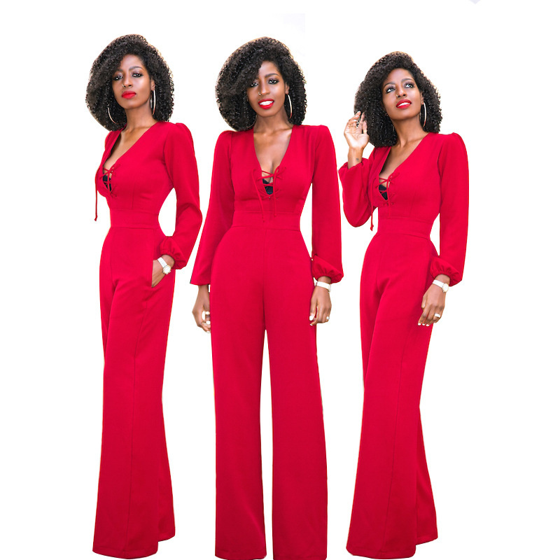 78e59e2a1b6 2019 Plus Size Women Red Jumpsuit Backless Sexy Full Sleeve Rompers ...