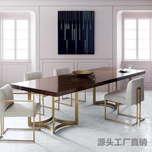 欧式电脑桌创意设计餐桌 办公职员会议长桌loft工作台?#30340;?#20250;议桌