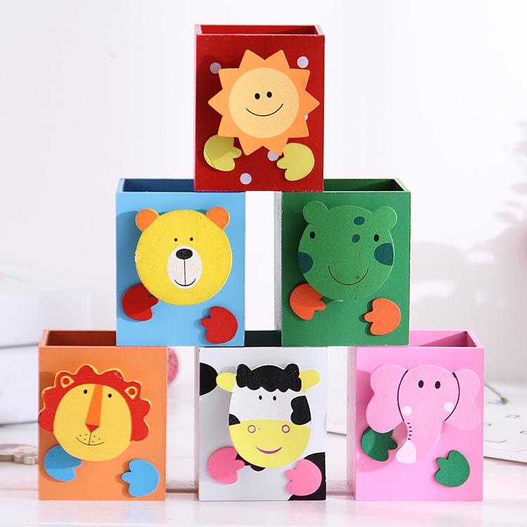 圣诞礼物礼品直销 超可爱木质动物笔筒木制卡通笔筒 创意办公用品