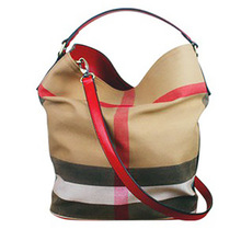新款现货女包水桶包 来自星星同款帆布格子手提包单肩斜挎包直销