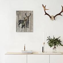 因之木纹麋鹿复古北欧简约装饰画挂画墙贴卧室沙发背景墙WGBD016M
