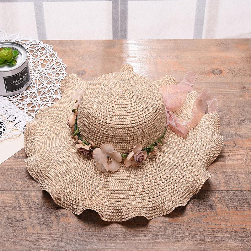 2021新款韩版女士帽子大波浪花朵遮阳帽 沙滩户外太阳帽 防晒草帽