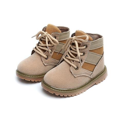 Giày thời trang trẻ em trong bốt sói mùa thu và mùa đông mới bé Martin bốt bé trai và giày bé gái gió Anh màu vàng nhỏ Giày cao cổ