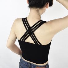 夏季性感交叉露背短款露臍吊帶背心女純棉打底衫上衣修身內搭批發