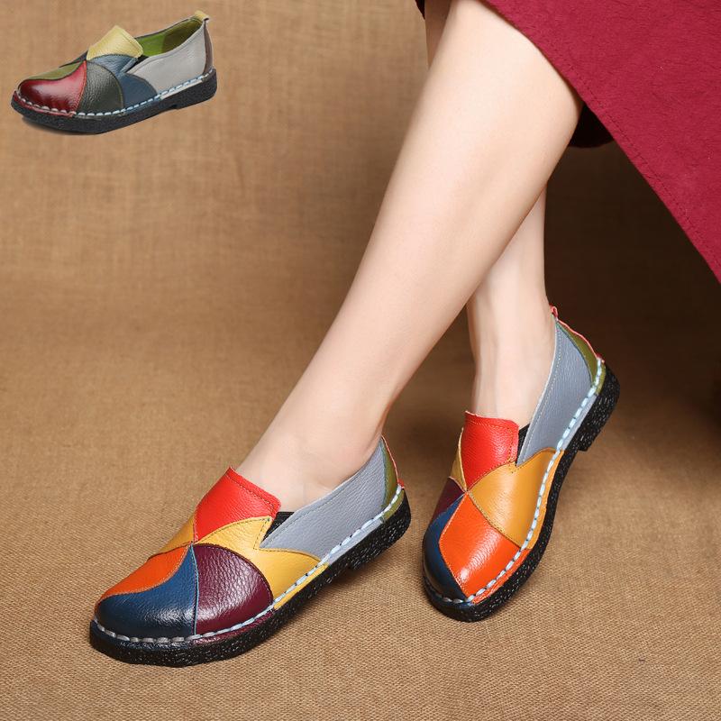 2020秋季新款民族风大码女鞋真皮拼色复古平跟软底皮鞋中年妈妈鞋