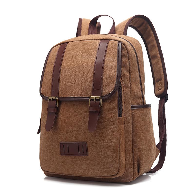 新款个性复古帆布大旅行背包时尚双肩包男女书包外贸批发一件代发