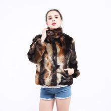 新款欧美速卖通 wish 女装仿皮草外套毛貂皮扎染大衣兔毛短款夹克