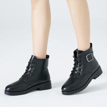 至秦冬季新款短靴保暖加绒棉靴欧美系带皮靴冬靴批发冬鞋一件代发