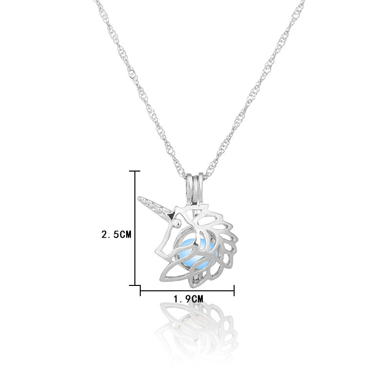 Hot sale luminous fashion Hollow unicorn can open pendant necklace NHAN243316