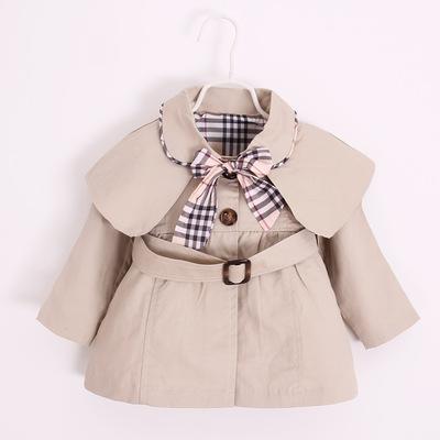 童装批发代销2018秋季新款婴儿外贸纯棉风衣外套女童宝宝公主上衣