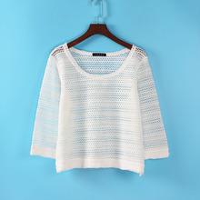 春裝新款女裝潮寬松長袖針織衫女套頭短款毛衣鏤空罩衫薄款