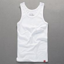 简约休闲男士背心纯棉纯色弹力紧身运动背心四季可穿全棉健身背心