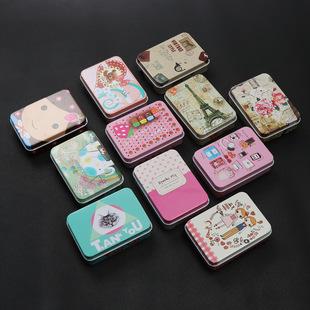 Creative rectangular tinplate box, cartoon mini card storage box, hairpin jewelry small tin box wholesale in stock