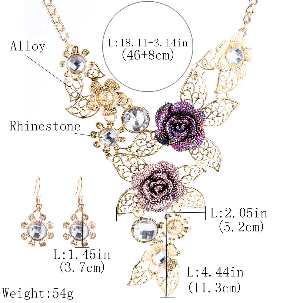 Exotic alloy plating Necklace Set (Gold)NHJE0476-Gold