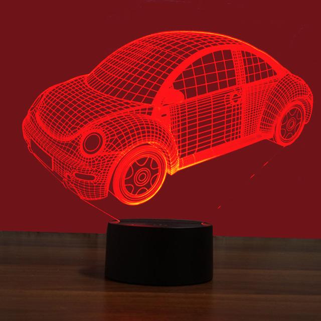 厂家批发 甲壳虫汽车 七彩3D灯 USB接口的创意视觉灯触摸艺术灯
