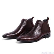 皮靴外贸欧版真皮男士短靴 中邦商务鞋品套脚鳄鱼纹英伦尖头男靴