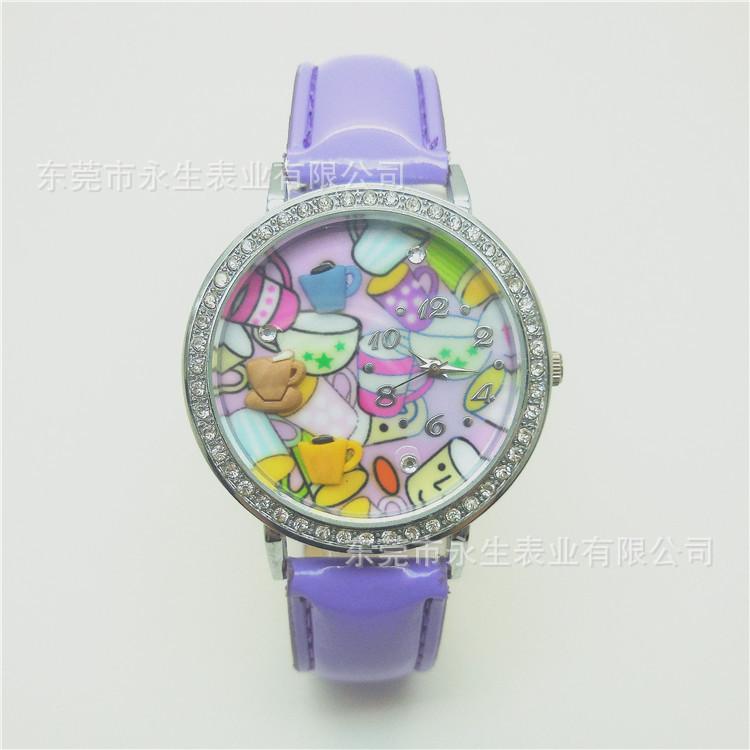 2017年速卖通爆款皮带手表 软陶瓷手工卡通学生手表 一件代发定制