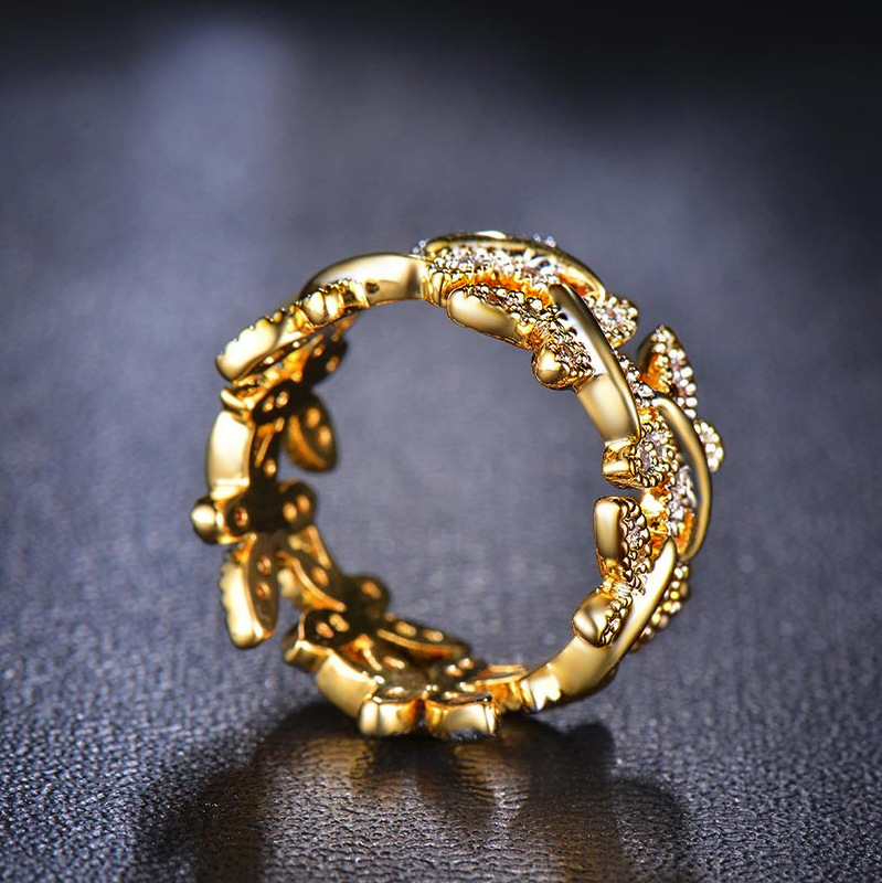 Fashion flowers with gold-plated micro-inlaid AAA zircon ring NHLJ152993