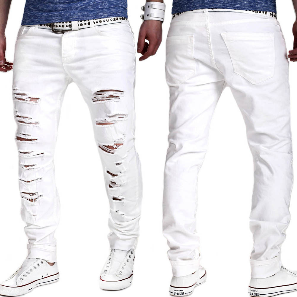 Summer new men's solid color slim straight jeans men's hole washed casual pants European men's fashion pants