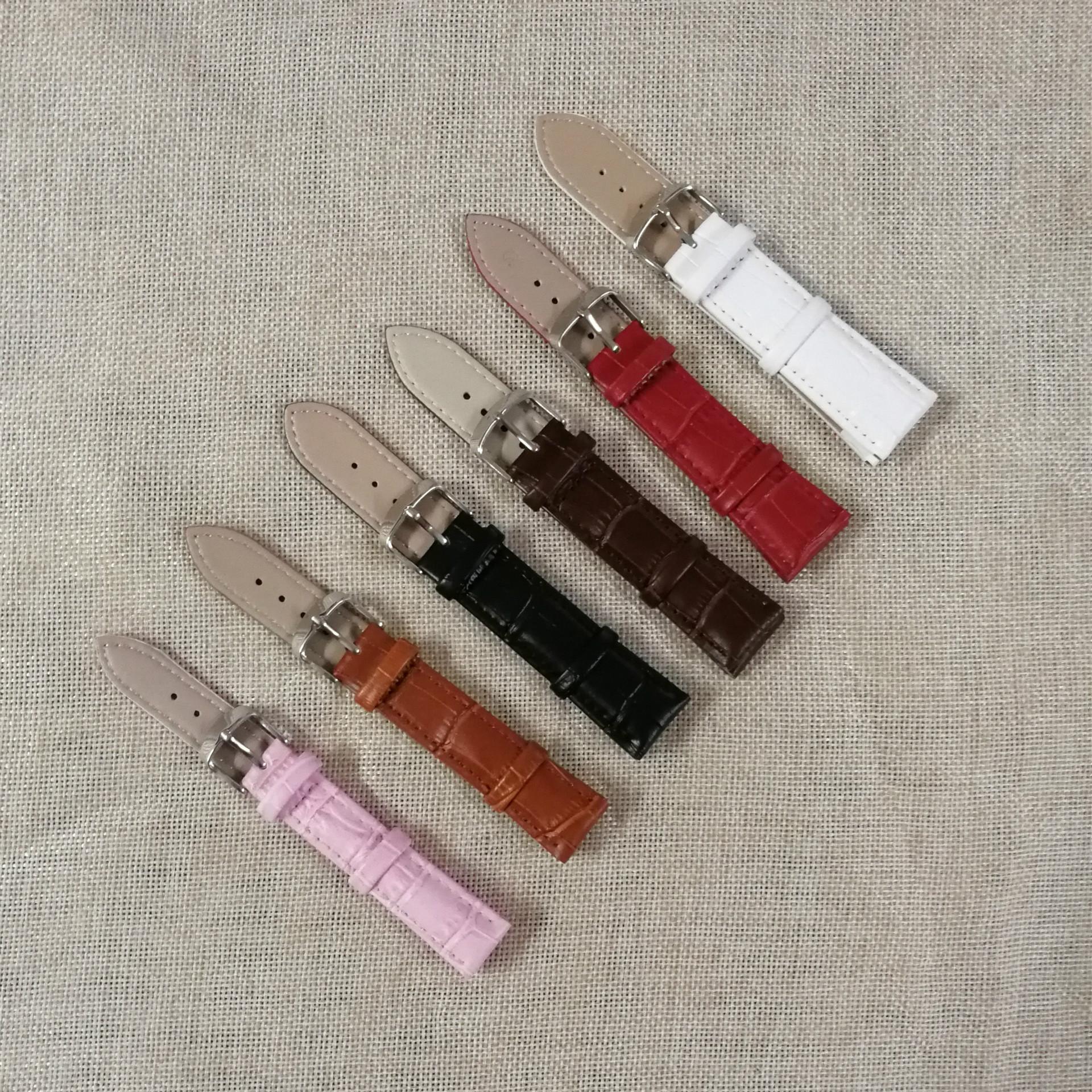 男式女式真皮手表表带 牛皮针扣表带 12-24mm 6色