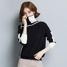 跨境熱銷冬季女式針織衫毛衣 韓版高領寬松質量幾何撞色毛衣女裝