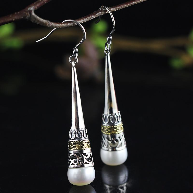 人品银品印尼风情民族风做旧耳饰S925银饰品镂空珍珠耳坠满包邮