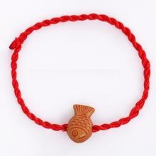 地攤熱銷品 本命年大魚紅繩編織兒童手鏈批發 促銷小禮物贈品手繩