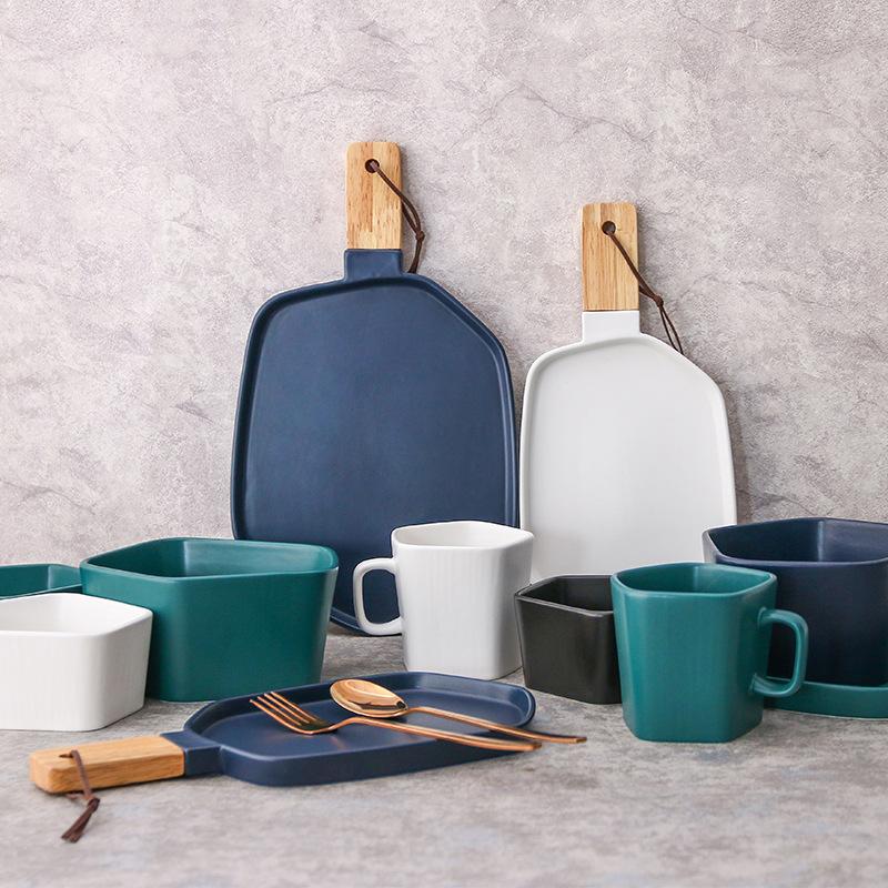 几何系列 磨砂4色陶瓷餐具套装把手早餐西餐牛排盘饭碗汤碗马克杯