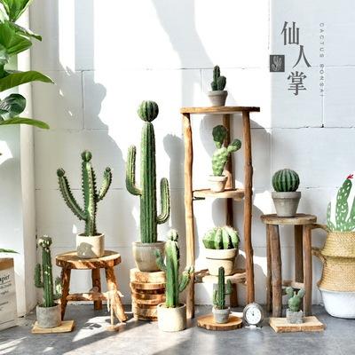 复古创意水泥盆中小型仿真仙人掌北欧客厅装饰落地仙人柱植物盆栽