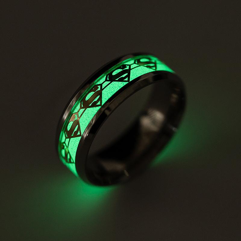 Fashion luminous domineering superman ring  NHSOM365815