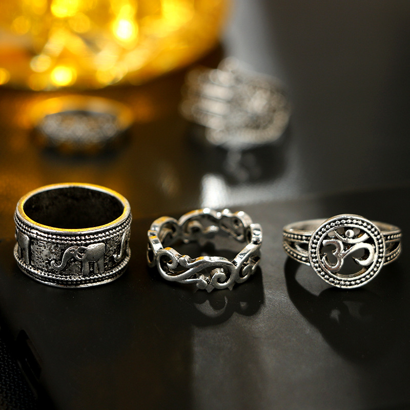 Vintage Openwork Carved Elephant Palm Crown Set of 9 Rings NHGY150290