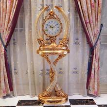 欧式古典高档创意大气复古象牙落地钟客厅摆件别墅装饰立钟座钟表