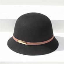 2018秋冬女士纯羊毛礼帽法式优雅撞色蝴蝶结盆帽复古圆顶日常帽子