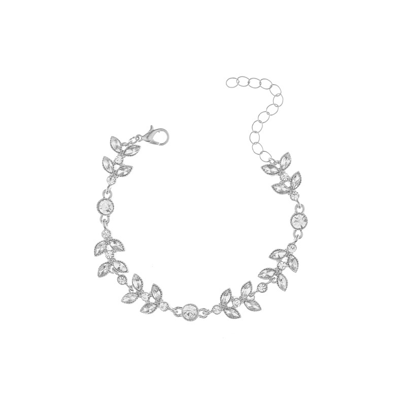 Wild simple set items jewelry ribbon leaf diamond clavicle chain bracelet NHXR201308