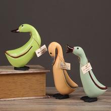 北欧原木 雕刻工艺品 乡村鸭子田园风格装饰摆件批发 套三鸭12004
