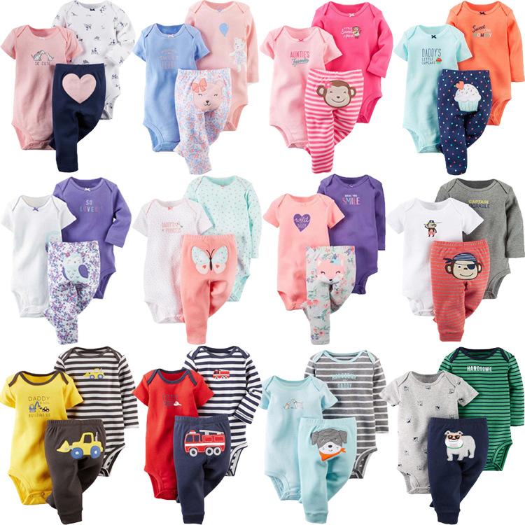 一件代发外贸童装幼小童纯棉卡通长袖短袖哈衣连身衣+裤子套装
