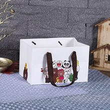 卡通小动物提绳礼品盒子 折叠手提袋白卡服装包装袋厂家定制批发