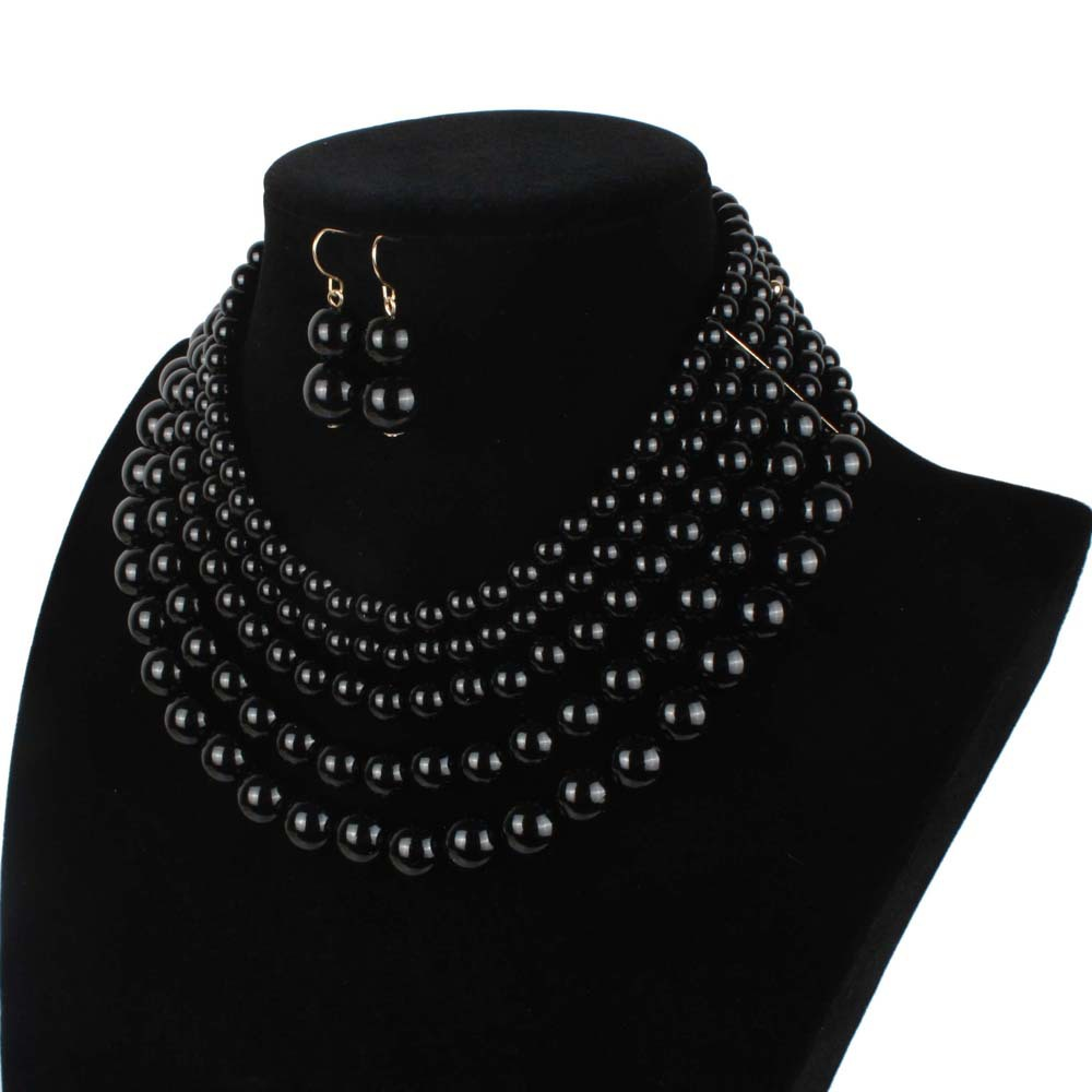 Occident and the United States pearlnecklace (Gun black)NHCT0038-Gun black