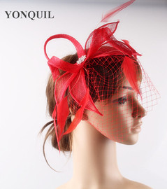 Hot Selling European And American Popular Noble Bride Mesh Headdress Feather Veil Hair Clip Party