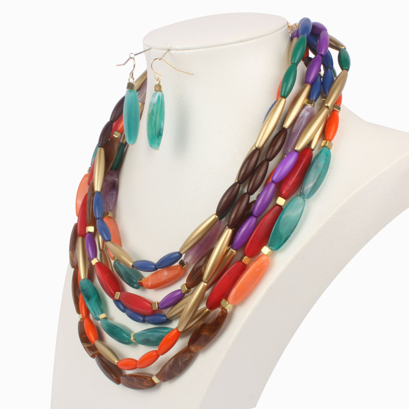 Occident and the United States Resinnecklace (Mixed color)NHCT0049-Mixed color