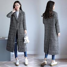 外贸韩版女装格子毛呢外套冬修身显瘦长款加厚茧型千鸟格呢子大衣