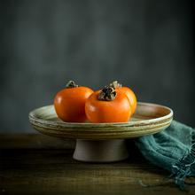 水果盤手工粗陶干果盤托盤 家用復古客廳高腳果盆果碟點心零食盤